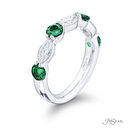 5779-019 | Emerald & Diamond Band Round & Marquise Cut Shared Prong Side View