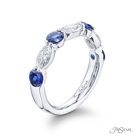 5779-021 | Sapphire & Diamond Band Round & Marquise Cut Shared Prong Side View