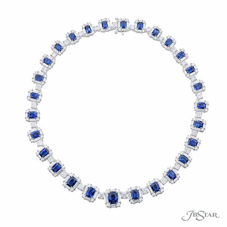 Dazzling sapphire and diamond necklace featuring 36.10 ctw. of cushion-cut sapphires embraced by round, cushion-cut and straight baguette diamonds. Handcrafted in pure platinum. [details] Stone Information SHAPE TYPE WEIGHT Cushion Sapphire 36.10 ctw. Round Diamond 6.10 ctw. Cushion Diamond 12.25 ctw. Straight Baguette Diamond 13.75 ctw. [enddetails] | JB Star 5781-001 Necklaces