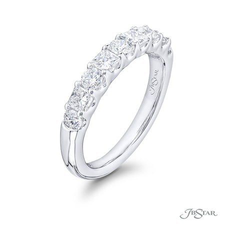 Gorgeous diamond wedding band featuring princess-cut and round diamonds in an alternating setting. Handcrafted in pure platinum. [details] Stone Information SHAPE TYPE WEIGHT Princess Diamond 0.55 ctw. Round Diamond 0.40 ctw. [enddetails] | JB Star 5782-001 Anniversary & Wedding