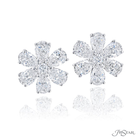 Gorgeous diamond stud earrings featuring pear shape and round diamonds in a beautiful floral design. Handcrafted in pure platinum. [details] Stone Information SHAPE TYPE WEIGHT Pear Diamond 3.77 ctw. Round Diamond 0.15 ctw. [enddetails] | JB Star 5792-001 Earrings