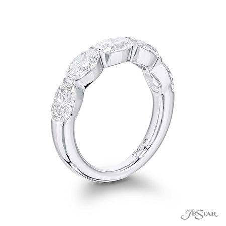 Dazzling diamond wedding band featuring 5 GIA certified oval diamonds in a shared prong setting. Handcrafted in pure platinum. [details] Stone Information SHAPE TYPE WEIGHT Oval Diamond 2.54 ctw. [enddetails] | JB Star 5794-001 Anniversary & Wedding