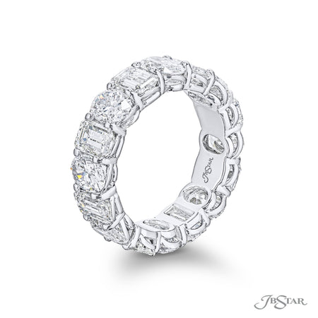 5798-001-Eternity Band With Emerald and Oval Diamonds Shared Prong side view