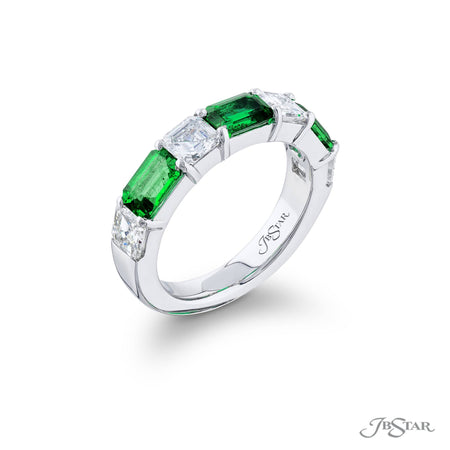 5808-001 | Emerald & Diamond Band Emerald-Cut 1.53 ctw. Side View