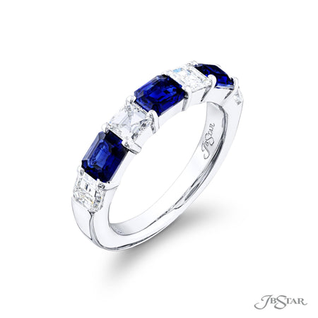 5811-002 | Sapphire & Diamond Band Emerald-Cut 1.12 ctw. Side View