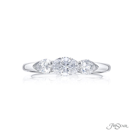 5821-001 | Oval & Pear Diamond Engagement Ring 0.52 ct GIA certified Front View
