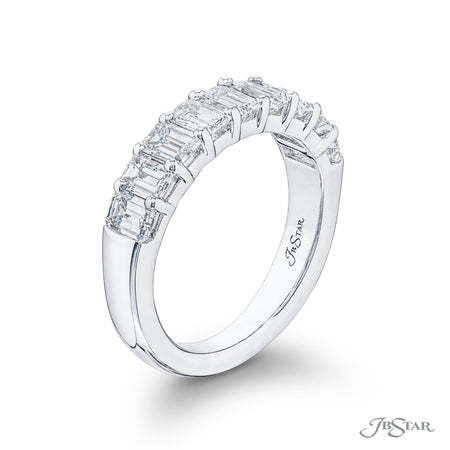 Beautiful diamond wedding band featuring 9 emerald cut diamonds in a shared prong setting. Handcrafted in pure platinum. [details] Stone Information SHAPE TYPE WEIGHT Emerald Diamond 2.10 ctw. [enddetails] | JB Star 5827-001 Anniversary & Wedding