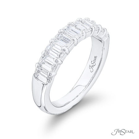 5827-002 | Diamond Wedding Band Emerald Cut 1.61 ctw. Shared Prong Side View