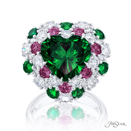 5844-001 | Emerald & Diamond Heart-Shaped Ring 5.76 ct. CDC Certified Front View