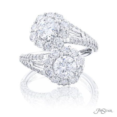 5853-001 | Diamond Twogether Ring Round Cut GIA Certified Micro Pave Front View