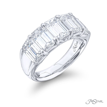 5857-001 | Diamond Wedding Band Emerald Cut Shared Prong GIA certified Front View
