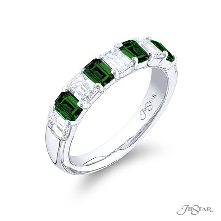 5879-002 | Emerald & Diamond Band Emerald-Cut 0.70 ctw. Shared Prong Side View
