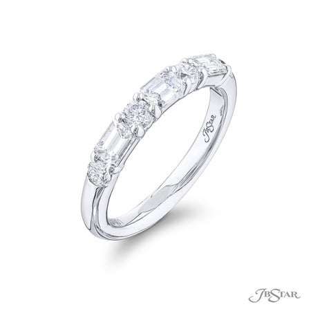 5880-001 | Diamond Wedding Band Round & Emerald-Cut Alternating Design Side View