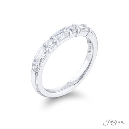 5880-003 | Diamond Wedding Band Round & Emerald-Cut Alternating Design Side View