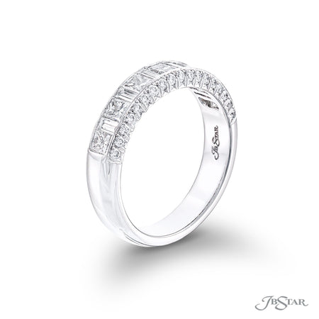Stunning diamond wedding band featuring princess-cut and baguette diamonds in a center channel embraced by rows of pave diamonds. Handcrafted in pure platinum [details] Stone Information SHAPE TYPE WEIGHT Princess Diamond 0.64 ctw. Round Diamond 0.29 ctw. Baguette Diamond 0.27 ctw. [enddetails] | JB Star 6046-001 Anniversary & Wedding
