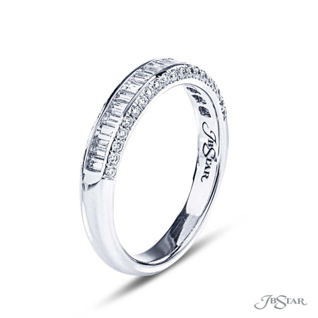 Dazzling diamond wedding band featuring 19 straight baguette diamonds in a center channel and edged in micro pave. Handcrafted in pure platinum. [details] Stone Information SHAPE TYPE WEIGHT Straight Baguette Round Diamond Diamond 0.52 ctw. 0.22 ctw. [enddetails] | JB Star 6055-006 Anniversary & Wedding