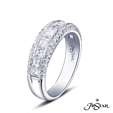 Dazzling diamond wedding band featuring 10 square emerald cut diamonds in a center channel edged in round diamond micro pave. Handcrafted in platinum. [details] Stone Information SHAPE TYPE WEIGHT Square Emerald Round Diamond Diamond 1.30 ctw. 0.30 ctw. [enddetails] | JB Star 6070-006 Anniversary & Wedding