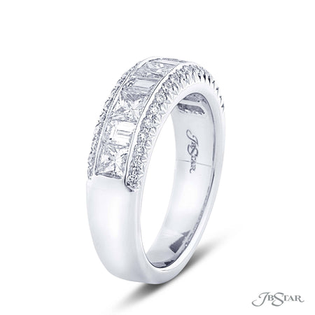 Dazzling diamond wedding band featuring princess cut and straight baguette diamonds in a center channel surround by diamond pave. Handcrafted in pure platinum. [details] Stone Information SHAPE TYPE WEIGHT Princess Straight Baguette Round Diamond Diamond Diamond 0.97 ctw. 0.47 ctw. 0.26 ctw. [enddetails] | JB Star 6071-010 Anniversary & Wedding