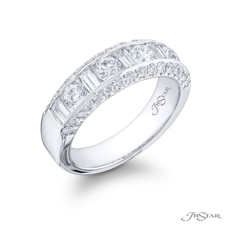 Beautiful diamond wedding band featuring round and straight baguette diamonds in an alternating design, channel set. Handcrafted in pure platinum with micro pave. [details] Stone Information SHAPE TYPE WEIGHT Round Diamond 1.03 ctw. Straight Baguette Diamond 0.69 ctw. [enddetails] | JB Star 6071-011 Anniversary & Wedding