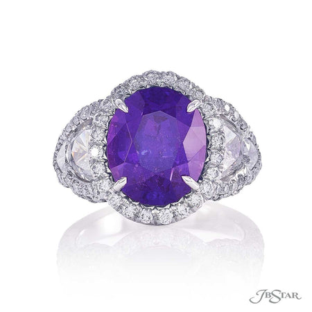 Dazzling purple sapphire and diamond ring featuring a