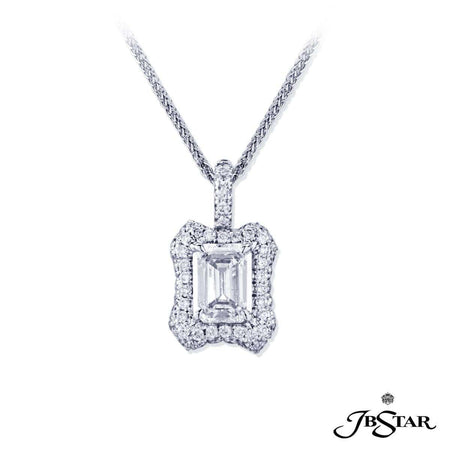 Beautiful diamond pendant featuring a 1.90 ct. GIA certified emerald-cut diamond center edged in micro pave diamonds, handcrafted in platinum. [details] Center Stone(s) SHAPE TYPE WEIGHT COLOR CLARITY Emerald Diamond 1.90 ct. D SI2 Stone Information SHAPE TYPE WEIGHT Round Diamond 0.88 ct. [enddetails] | JB Star 7000-004 Pendants