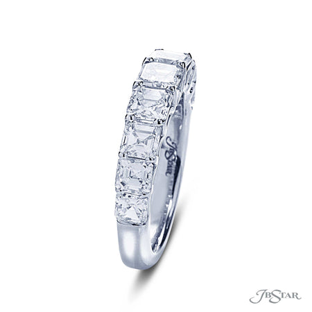 Beautiful diamond wedding band featuring 9 square emerald diamonds in a shared prong setting. Handcrafted in pure platinum. [details] Stone Information SHAPE TYPE WEIGHT Square Emerald Diamond 2.53 ctw. [enddetails] | JB Star 7002-002 Anniversary & Wedding