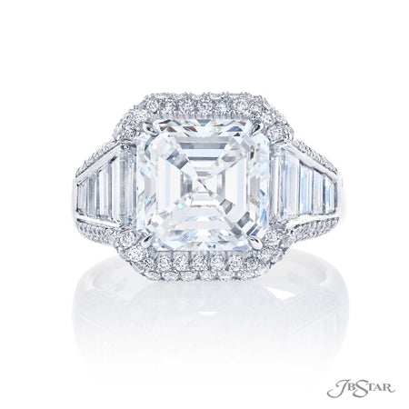 Platinum 4.64 ct Square Emerald Cut Diamond Engagement Ring 7007-041