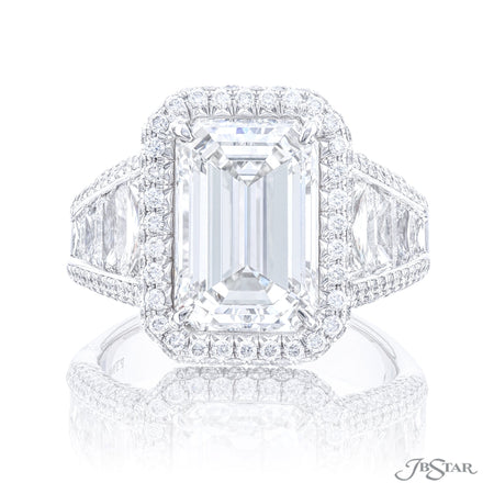 7007-046 | Diamond Engagement Ring 5.04 ct Emerald Cut GIA Certified Front View
