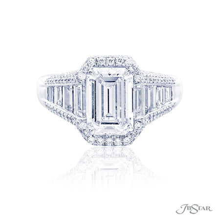 Platinum 2.29 ct Emerald Cut Diamond Engagement Ring in Micro Pave Setting 7007-070
