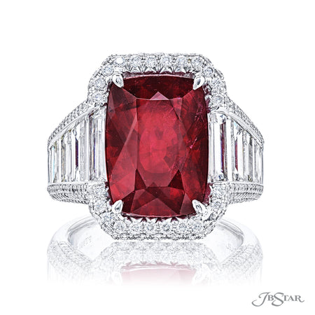 Magnificent ruby and diamond ring featuring a spectacular 9.10 ct. certified cushion cut Mozambique ruby embraced by trapezoid diamonds in a micro pave setting. Handcrafted in pure platinum. [details] Center Stone(s) SHAPE TYPE WEIGHT Cushion Ruby 9.10 ct. Notes: GRS Stone Information SHAPE TYPE WEIGHT Trapezoid Round Diamond Diamond 3.97 ctw. 1.10 ctw. [enddetails] | JB Star 7007-075 Precious Color Rings