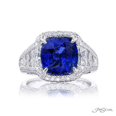 7007-084 | Sapphire & Diamond Ring 5.02 ct. CDC Certified Cushion-Cut Front View