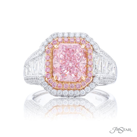 7007-088 | Pink Diamond Ring 3.05 ct. GIA Certified Radiant Cut Front View