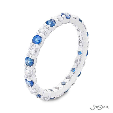 Beautiful sapphire and diamond eternity band featuring round sapphires and round diamonds in an alternating design. Handcrafted in pure platinum. [details] Stone Information SHAPE TYPE WEIGHT Round Sapphire 0.88 ctw. Round Diamond 0.61 ctw. [enddetails] | JB Star 7028-002 Eternity Bands