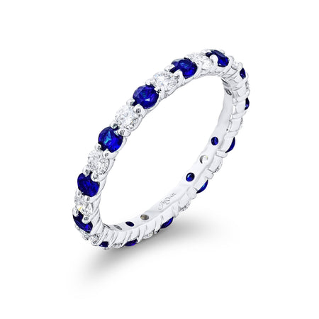 7029-002 | Sapphire & Diamond Eternity Band 1.51 ctw Round Alternating Side View