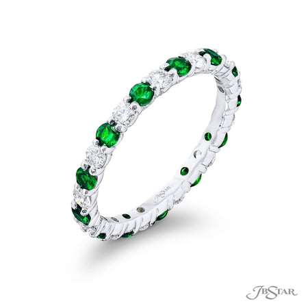7029-007 | Emerald & Diamond Eternity Band Round Alternating Design Side View