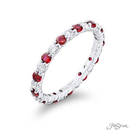 7029-008 | Ruby & Diamond Eternity Band Round 0.80 ctw. Alternating Side View
