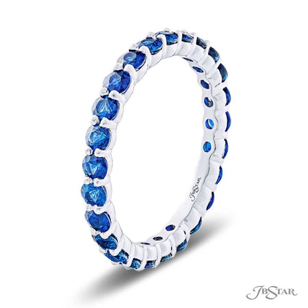 Dazzling sapphire eternity band featuring 25 round sapphires in a shared prong setting. Handcrafted in pure platinum. [details] Stone Information SHAPE TYPE WEIGHT Round Sapphire 1.81 ctw. [enddetails] | JB Star 7031-021 Eternity Bands