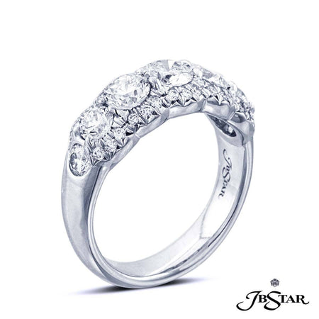 Gorgeous platinum and diamond wedding band featuring 7 beautiful graduating round diamonds in a prong setting embraced with micro pave diamonds. [details] Stone Information SHAPE TYPE WEIGHT Round Diamond 1.95 ctw. [enddetails] | JB Star 7032-015 Anniversary & Wedding