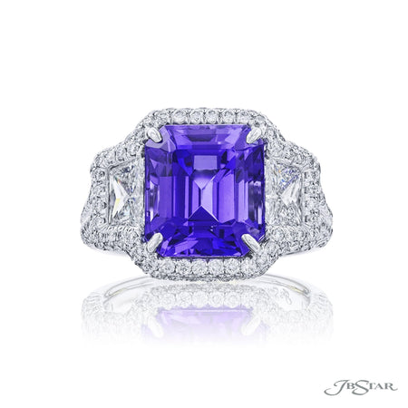7037-002 | Tanzanite & Diamond Ring 6.68 ct. Emerald-Cut Micro Pave Front View