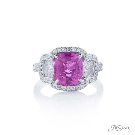 Stunning pink sapphire and diamond ring featuring a magnificent 3.73 ct. certified