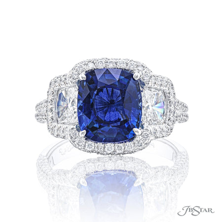 7053-003 | Sapphire & Diamond Ring 3.45 ct. Cushion Cut Micro Pave Front View
