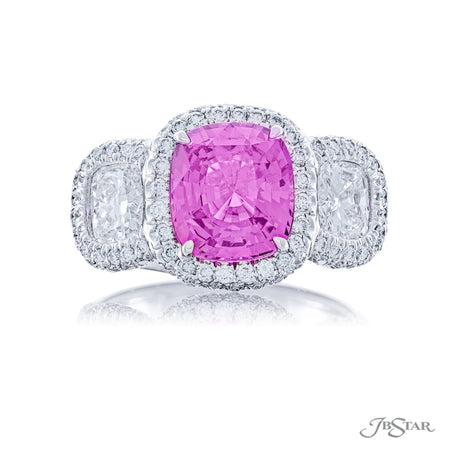 Stunning pink sapphire and diamond ring featuring a 3.07 ct. certified