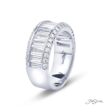 Dazzling diamond wedding band featuring a center channel of tapered baguette diamonds surround by micro pave. Handcrafted in pure platinum. [details] Stone Information SHAPE TYPE WEIGHT Tapered Baguette Round Diamond Diamond 1.58 ctw. 0.50 ctw. [enddetails] | JB Star 7125-002 Anniversary & Wedding