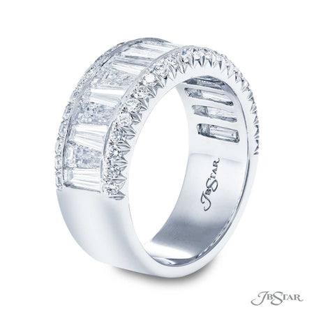 Gorgeous diamond wedding band featuring 17 tapered baguette diamonds in a center channel with micro pave diamonds. Handcrafted in pure platinum. [details] Stone Information SHAPE TYPE WEIGHT Tapered Baguette Diamond 2.20 ctw. Round Diamond 0.47 ctw. [enddetails] | JB Star 7125-005 Anniversary & Wedding