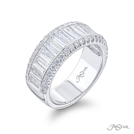7125-008 | Diamond Wedding Band Center Channel Tapered Baguette 2.50 ctw Side View