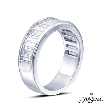Stunning diamond wedding band featuring 19 straight baguette diamonds in a beautiful channel setting. Handcrafted in pure platinum. [details] Stone Information SHAPE TYPE WEIGHT Straight Baguette Diamond 2.12 ctw. [enddetails] | JB Star 7129-002 Anniversary & Wedding