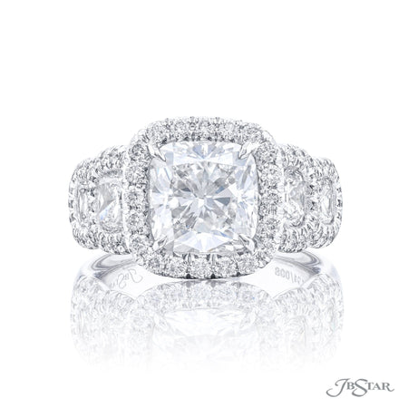 7134-008 | Diamond Engagement Ring 3.02ct. Cushion Cut Micro Pave Front View