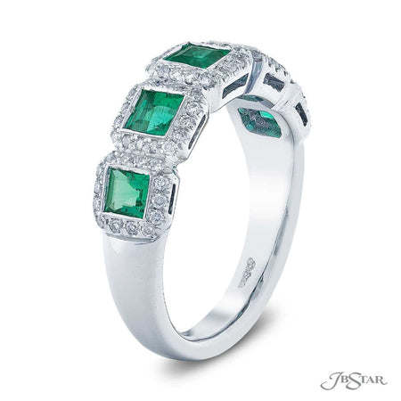 Dazzling sapphire and diamond wedding band featuring 5 square emerald-cut emeralds in a micro pave bezel-setting. Handcrafted in pure platinum. [details] Center Stone(s) SHAPE TYPE WEIGHT Square Emerald Emerald 0.93 ctw. Stone Information SHAPE TYPE WEIGHT Round Diamond 0.34 ctw. [enddetails] | JB Star 7137-004 Anniversary & Wedding