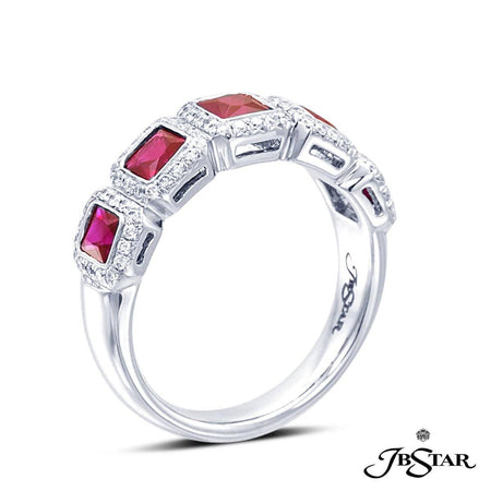 Platinum wedding band handcrafted with 5 perfectly matched princess-cut rubies in a micro pave bezel setting. [details] Center Stone(s) SHAPE TYPE WEIGHT Princess Ruby 1.60 ctw. Stone Information SHAPE TYPE WEIGHT Round Diamond 0.30 ctw. [enddetails] | JB Star 7137-015 Anniversary & Wedding