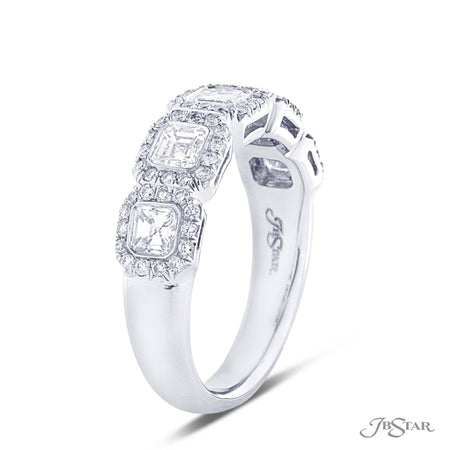 Beautiful diamond wedding band featuring 5 square emerald cut diamonds in a micro pave bezel setting. Handcrafted in pure platinum. [details] Stone Information SHAPE TYPE WEIGHT Square Emerald Round Diamond Diamond 0.94 ctw. 0.37 ctw. [enddetails] | JB Star 7137-020 Anniversary & Wedding